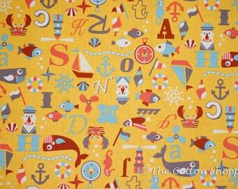 Marine Animals Fabric ~ Kokka Fabric ~ Japanese Fabric ~ Nautical Fabric ~ Sea Animals Fabric ~Home Decor Fabric~Cotton Linen Printed Canvas