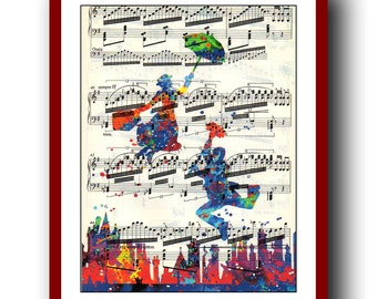Mary Poppins Poster 3 Kids Art Print Giclee Wall Illustrations Art Print 8x10 Wall Decor Home Decor Book Page Art  Upcycled Dictionary