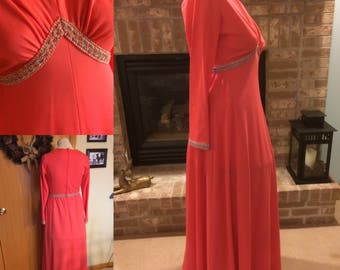 Vintage Formal Dress, Coral Floor Length Dress, Toni Todd 1970s Polyester Formal Gown, Size 12