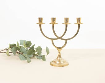 Vintage brass candle holder, mid century modern