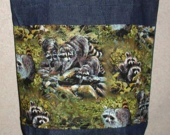 New Handmade Medium Raccoon Family Wildlife Denim Tote Bag