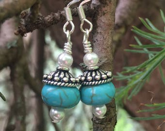 Turquoise bead and pearl earrings with bali style sterling bead caps