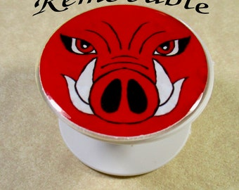 Hogs Phone Grip Skin, Red Hog Face Phone Grip Decal, Hogs Fan Gifts, Hogs Cell Phone Stand, Gift for Arkansas Fans, Gifts with Hog Face