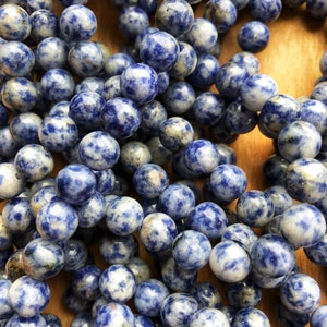 8mm Natural Blue spot Gemstone beads, jewelry making beads, macrame, necklace beads, 8mm beads. 1 strand per pack=46 beads