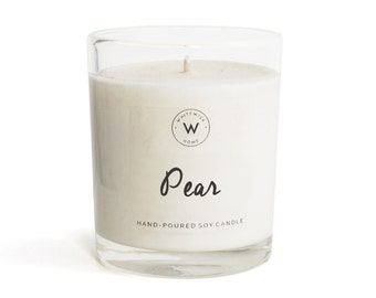 """Medium """"Pear"""" Scented Soy Wax Candle"""