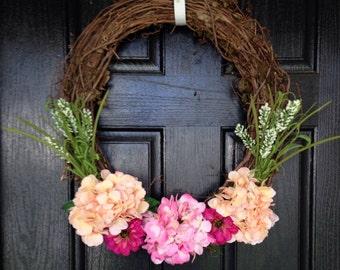 Spring Door Wreath, Custom Wreath, Spring Wreath, Summer Wreath, Floral Spring Wreath, Summer Door Wreath, Everyday Wreath, Hydrangea Wreath