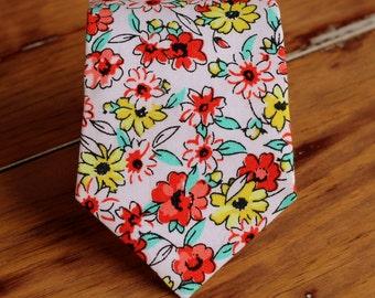 Boys Pink Necktie, red yellow pink floral flowers cotton boys necktie, neck tie baby infant toddler child preteen boy, ring bearer necktie