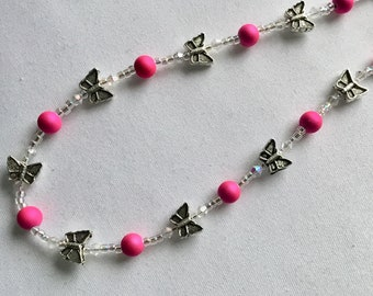 Bright pink and butterfly bead spectacle/glasses chain