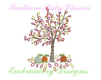 Fall Autumn Tree Leaves Pumpkin Vintage Stitch Design File for Embroidery Machine Instant Download Girl Boy Cute Halloween Pumpkins