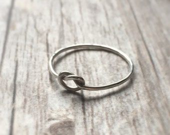 Knot Ring Fine Silver Ring Love Knot Stackable Rings Bridesmaid Engagement Knuckle Ring Silver Rings Friendship Ring Promise Ring