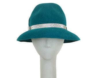 Turquoise Fedora Hat for Women, Winter Hat, Dress Hat, Races Hat, Vintage Style Hat, Ladies Hats, 1950s Fashion Hat, Elegant Hats, Millinery