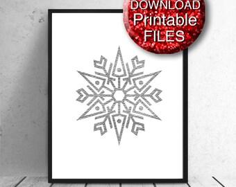 Snowflake, Christmas Printable Wall Art, Silver, White, A4 8x10 11x14 16x20