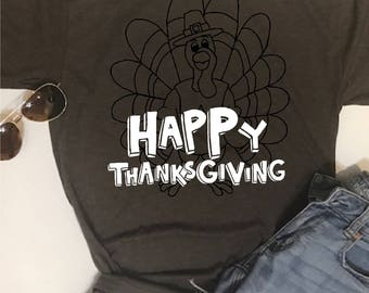 Custom Glitter Happy Thanksgiving Shirt | Womens Fall Shirt | Women's Autumn Shirt