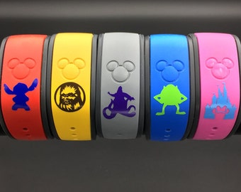 Disney Characters Magic Band Decal (Over 60 Designs) Magic Band 2.0. Glossy or Glitter Magic Band