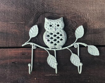 Wall Mounted Key Rack Cast Iron Owl Hook, Owl On Branch Decorative Towel Wall Fixture, Hand Painted Sage Green Distressed, Item #587378232
