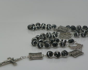 Black Rosary - Black and silver rosary - Black glass rosary(.)