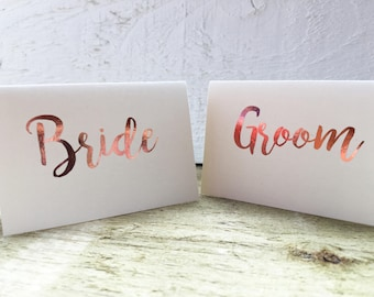 Copper foil elegant place cards, tent cards, wedding place name cards, rustic wedding