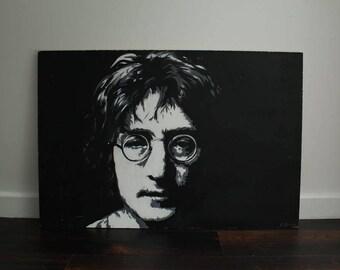 John Lennon acrylic painting on wood