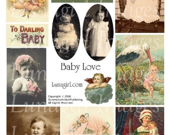 VINTAGE BABIES digital collage sheet, Victorian cards vintage photos, Baby Angel Mother Love, Victorian children stork art ephemera DOWNLOAD