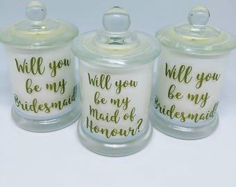 Will You Be My Bridesmaid Gift | Soy Wax Candles | Petite Candle | Will You Be My Maid Of Honour | Black or White