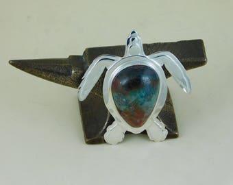 Unique Sterling Silver Hawksbill Sea Turtle Pendant with a Sonoran Sunrise Cabochon