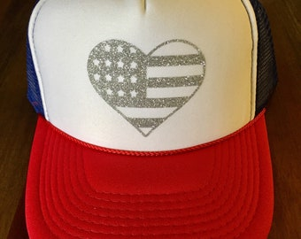 American Flag hat-red white blue hat-Patriotic hat-4th of July hat-USA hat-American trucker hat-American flag