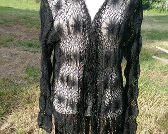 Dressy Black Rosette Wrap/Sweater/Coverlet