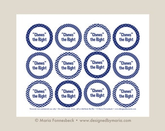 Navy Chews the Right CTR Favor Tag Printable: LDS Primary or LDS Baptism 2.25 inch circle tags -- Decoration for Goodie Bags or Bubble Gum