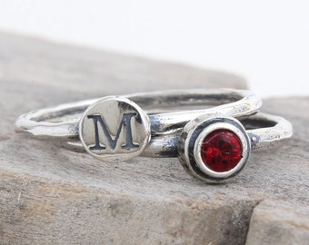 Birthstone and Initial Stacking Rings. Sterling Silver Stackable Ring, Set of 2 Stack Rings, 1 Initial & 1 Birthstone. Personalized Ring!