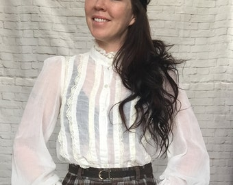 Vintage 70s Gunne Sax Sheer Lace Ruffled High Collar Poet Sleeve Blouse Cream Victorian XS S
