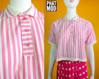 Fun Vintage 80s Pink & White Stripe Cropped Shirt