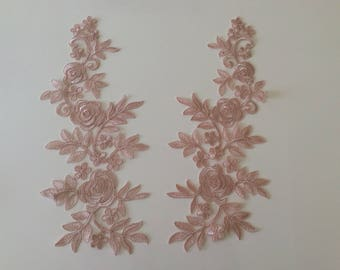 Applique sewing 39 * 16cm old rose color