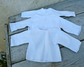 Vintage Antique french set of 3 white cotton shirt for baby