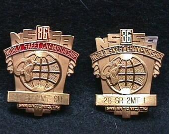 Two Vintage 1986 World Skeet Championship Pins out of San Antonio, Texas