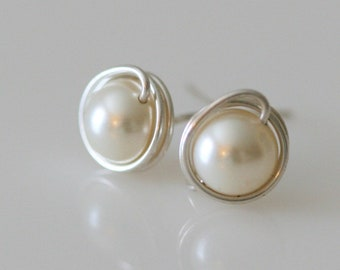 Cream Pearl Post Earrings. Swarovski Crystal Pearl Wire-Wrapped Earrings. Caged Bead Earrings.