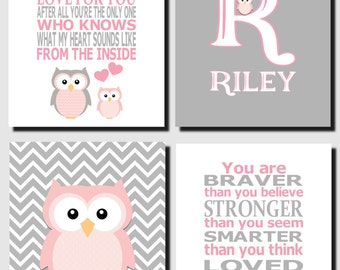 Baby Girl Nursery, Pink and Gray Owl Wall Art, Kids Wall Art, Initial, The Strength of my Love, Baby Girl Room, Set of 4, Prints or Canvas