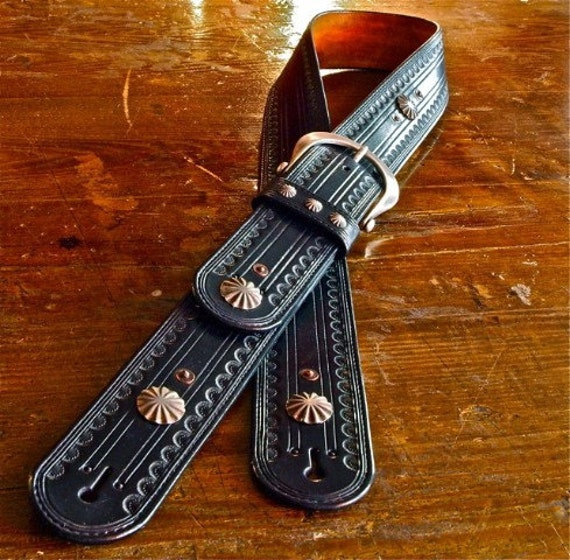 Leather Guitar strap Hand tooled, Black Leather OUTLAW Cowboy Rockstar Country vintage Conchos handmade for YOU in USA by Freddie Matara!