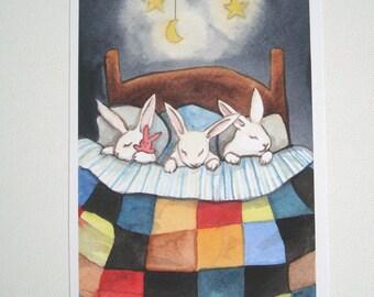 Triplets Tucked In - Fine Art Rabbit Print - Bedroom or Nursery Decor