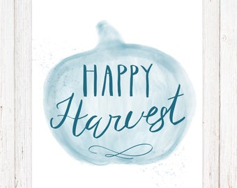 Printable Fall Art Decor - Happy Harvest - Autumn Decor - Fall Sayings - Watercolor Fall