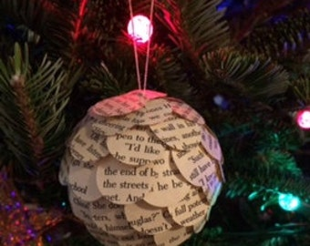 Book Page Ornament, Christmas Ornament, Paper Ornament, Christmas Decor, Unique Ornament, Holiday Ornament, Gift for Bookworm
