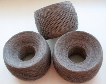 Linen Yarn Gray Brown Chocolate Red 200 gr (7 oz ), skein / 1 ply, each skein contains approximately 1900-2100 yds