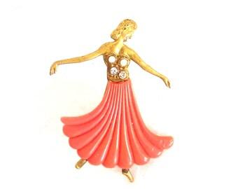 Vintage 1920s Art Deco Brooch Dancer Coral Pearls Rhinestones