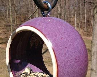 Bird Feeder / Handmade Modern Birdfeeder / Stoneware Ceramic Pottery / Outdoor Feeder / Handmade Bird Feeder / Violet Purple Plum