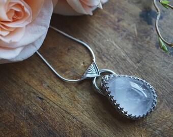 Rose Quartz Necklace - Sterling Silver Rose Quartz - Rose Quartz Pendant - Love Crystal - Crystal Necklace
