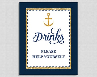 Navy & Gold Drinks Sign, Drink Table Sign, Nautical Anchor Shower Sign,  INSTANT PRINTABLE