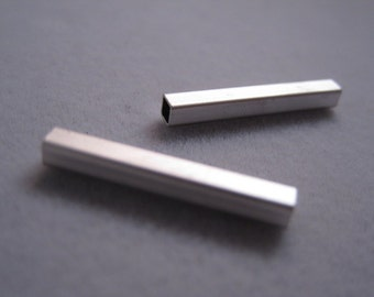 Matte rhodium plated tube bead, 2.6 X 20 mm,  Silver tube bead, Slim bar, bar bead
