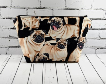 Pug Makeup Bag, Dog Cosmetic Bag