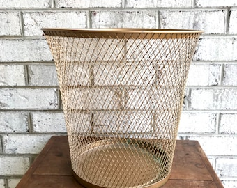 Vintage Metal Mesh Trash Can | Gold Tone Mesh Trash Can | Mid Century Mesh Trash Can | MCM decor | Plant Stand | Mesh Basket