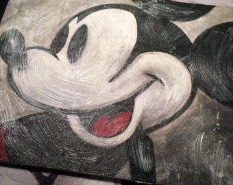 "Grunge Mickey Mouse - Stretched Canvas Giclée - 11""x14"""