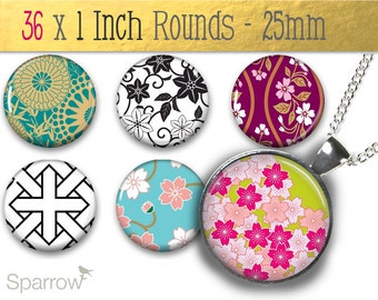 Traditional Japanese Patterns - One inch (25mm) Round Pendant Images - 1x1 Inch Images - Printable Digital Collage Sheet - Buy 2 Get 1 Free